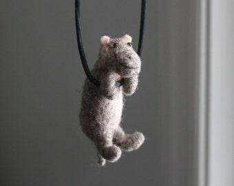 Tiny Hippo Necklace - needle felted