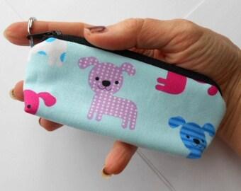 Mini Key Chain Zipper Pouch ECO Friendly Padded Lip Balm Case NEW Blue Puppies