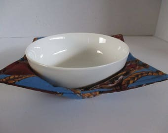 Bowl cozy, microwave bowl cozy, blue,horses, cowboys, ropes, kitchen, microwave hot pad, microwave safe, bowl holder, hot pad, table