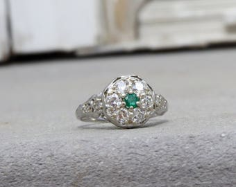 18K Edwardian/Deco Diamond and Emerald Cluster Ring