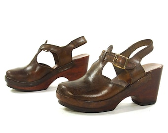 1960s Wooden Clogs Vintage 1960s Brown Leather Ankle Strap Mary Jane Mules Boho Hippie Gypsy Bohemian Handmade Italian Shoes Women's Size 6