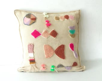 Cushion cover, handmade,  geometric , Decorative Pillow,  textile, fabric , one of a kind,  eco-friendly,  gift, playful, tribal