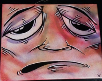 """JOS-L Face Original Art  11"""" x 14""""  Canvas Painting Pop Abstract Outsider Graffiti Surreal Lowbrow Street"""