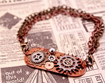 Copper Industrial Steampunk Watch Part and Wing Bracelet 7 Inches