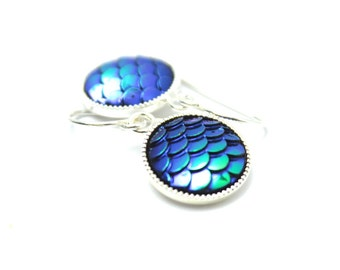 Blue Green Mermaid Dangle Earrings Classic Iridescent Cobalt Teal Aqua Dragon Scales 12mm Sterling Silver Scalloped Round Waves Rain Forest