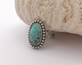 Kingman Turquoise Ring, Handcrafted Solitaire Ring, Artisan Silversmith Stacking Ring Sterling Silver Blue Stone Ring, Boho Chic Size 6 3/4