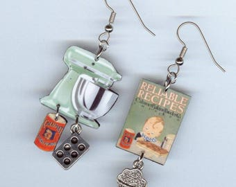 Cookbook cupcake Earrings - Vintage Baking Mixer Cupcakes tin - Bakers chef cooks gift - Asymmetrical mismatched earring Designs by Annette
