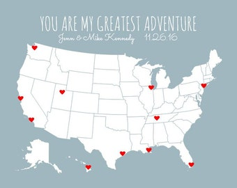 Personalized Husband to Wife Gift for Her, Greatest Adventure Couples Travel Map, USA Travel Decor, First Anniversary Wedding Gift DIY Kit