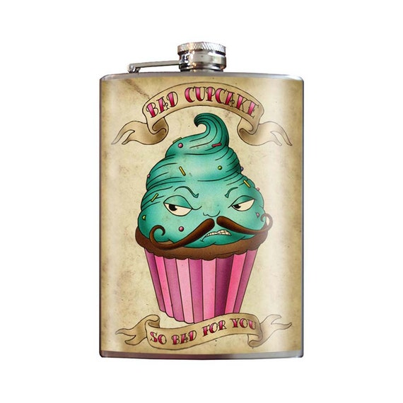 Bad Cupcake - 8oz Stainless Steel Flask - comes in a GIFT BOX -  by Trixie & Milo Mustache so bad for you evil pastry