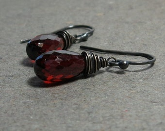 Garnet Briolette Earrings January Birthstone Wire Wrapped Oxidized Sterling Silver Earrings Gift for Her