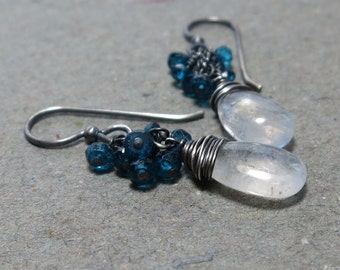 Moonstone Cluster Earrings Turquoise Blue Quartz Oxidized Sterling Silver Beaded Earrings