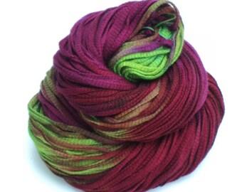 Jokes, Hand Dyed, Hand Painted, Ribbon, Yarn, Purple, Green, Red