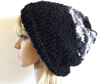 Hand knit chunky slouchy hat black and white grey gray monochrome textured thick thin wool knitted warm slouch beanie women men teen unisex