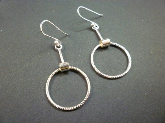 sterling silver textured hoop earrings australian made