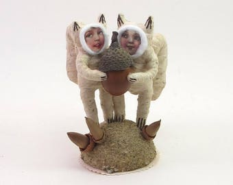 READY TO SHIP Vintage Style Spun Cotton Sharing Squirrel Children Ooak