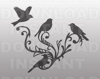 Fancy Decorative Ornate Birds SVG File -Vector Art for Commercial & Personal Use- SVG File for Cricut,Silhouette Cameo,Vinyl Template,htv