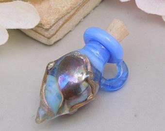 Handmade Lampwork Opal Glass Bottle Vessel Focal Blue Purple SRA Pendant-Bastet's Beads- Blue Bottle