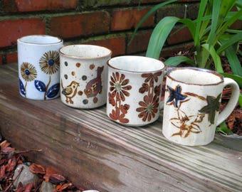 Vintage Stoneware Mug Lot - 4 Earth Tone Folk Art Coffee Cups / Mugs Circa 1970s - Birds Flowers & Foliage Retro Cup Instant Collection Gift