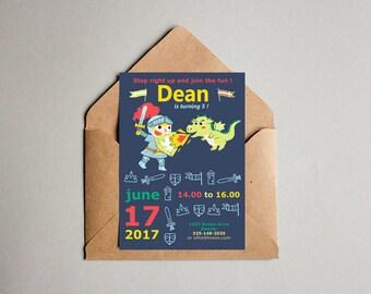 Fichier numérique chevalier anniversaire fête garçon-invitation anniversaire - fête imprimable