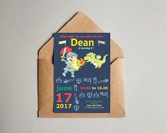 Digital file knight birthday party invitation- boy birthday - party printable