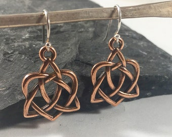 Copper Celtic Love Knot Earrings Outlander Jewelry Mother's Knots Christmas Gift For Her Mom Heart Valentine Infinity Eternity Irish Jamie