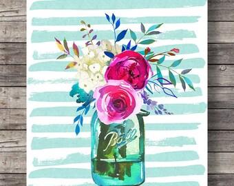 Spring Watercolor flowers bouquet print | Printable art | Watercolor decor art print | Mason jar floral Printable wall art | Watercolor