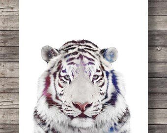 White tiger art print, Printable, wall art, tiger face, tiger photo, Printable art, white tiger print, white tiger face, nursery decor art