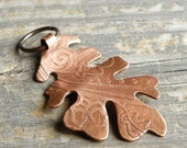 STRENGTH . Etched Copper Oak Leaf Pendant . Ornament . Julie Nordine . CreditRiverArtGlass . L113
