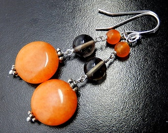 Orange Drop Earrings, Smoky Quartz, Tangerine Quartzite, Orange and Brown Sterling Silver Earrings