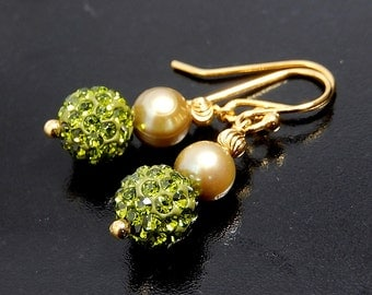 Olive Green Earrings, Pearl Earrings, Swarovski Crystal Pave Jewelry