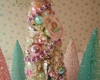 Pastel Bottle Brush Tree - Shabby PINK Tulle, Rhinestone Ribbon and Mercury Glass