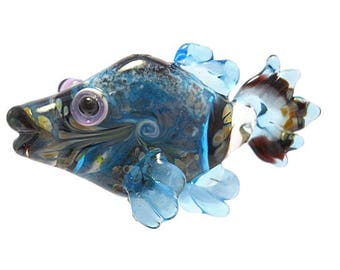Azure Blue Glass bead fish pendant necklace, Lampwork Glass Beads, ocean handmade focal bead, animal bead, jewelry supplies, SRAJD, CGGE