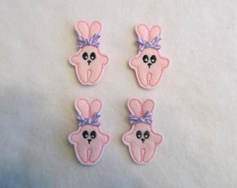4 Felt EASTER BUNNY Applique embellishments Style T-YD