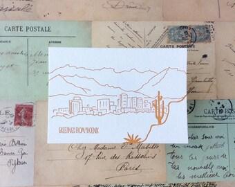 Phoenix - five letterpress postcards