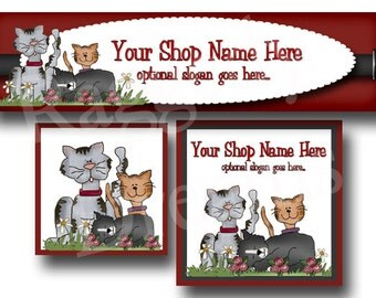Premade Etsy Cover Photo - Large Etsy Banner - Etsy Shop Banner - Shop Icon - Shop Profile - Etsy Shop Design - Pets - Cats - Kitty -