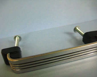 Vintage Long 1940s Chrome Hardware Pull with Black Stripe EXC