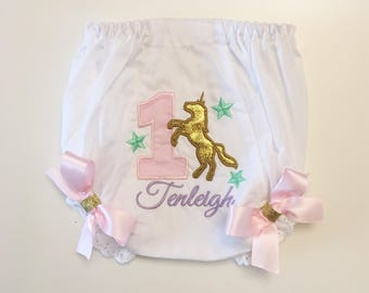 Unicorn Star 1st Birthday Bloomers- Diaper Cover- Personalized Baby Girl