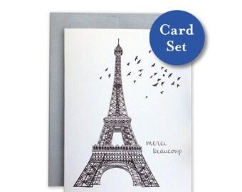 Eiffel Merci Card Set of 8