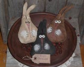 Custom Order --- 3 Bunny Heads in White, Black and Brown - Bowl Fillers