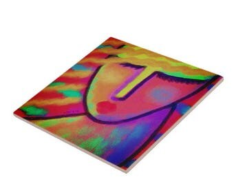 Colorful Abstract Digital Portrait of a Woman Printed on Ceramic Tile