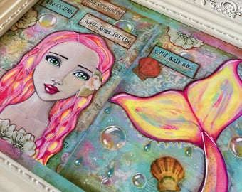 Mermaid Dreams / Print / Mixed Media / She Dreams of the Ocean and Longs for the Wild Salt Air / Art for a Girl's Room