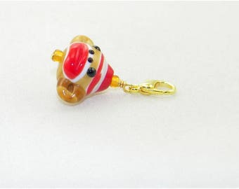 Lampwork sock monkey handmade lobster claw charm for link bracelets and necklaces, Clip on charm, Purse charm, Backpack charm, Zipper charm