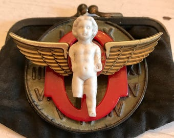 Vintage Dug Up German Doll FROZEN Charlotte Doll Coin Purse WINGS Assemblage Jewelry SUPPLIES Buckle Necklace Curiosity Cabinet Steampunk