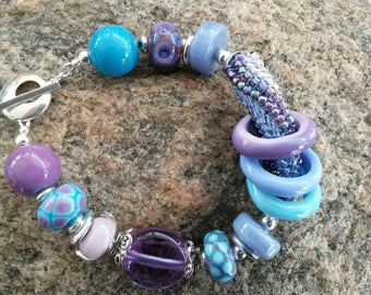 Handmade Lampwork Bead Bracelet by JudyDalyReganti- Hydrangea- Blues, Pinks, Turquoise and Purples