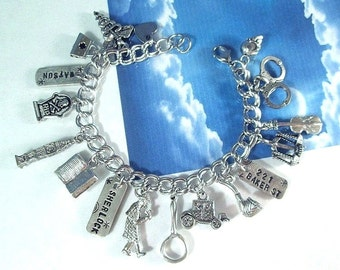 Sherlock Holmes Watson Charm Bracelet Police Detective Mystery Solver PI CSI Crime Fighter Personalized Jewelry 316 Stainless Steel Chain