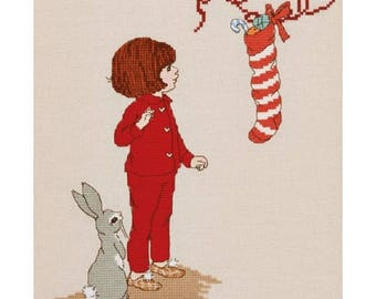 Christmas Morning Stocking Cross Stitch Pattern Downloadable PDF Christmas Belle and Boo