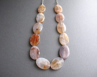 Chunky Agate Necklace, Bib Necklace, Multicolor Gemstone