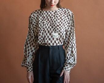 silky print blouse / 80s print blouse / billowy blouse / s / m / 2211t / B18