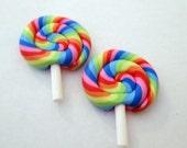 Rainbow Lollipop stud earrings - candy jewelry, sweet dessert, fun kawaii, food gift, teen