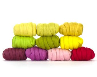 ON SALE Spring Blossoms Merino Variety Pack - 10 colors - 25 grams each color = 250 grams or 8.8 oz total to Spin, Felt, Card, Fiber Art
